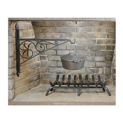 Achla - 30 inch Wrought Iron Fireplace Crane - This 30 in wrought iron constructed fireplace crane is the perfect accessory!  A great way for holding things over the fire safely and securely, this crane's graphite powdercoat finish provides a sleek and elegant look. * Wrought iron constructionGraphite powdercoat finish. Pot not included30 in. L