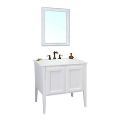 "Bella Terra - Bellaterra 33.5"" Single Sink Vanity in Wood-White - All Solid wood cabinet with sleek white finish, a transitional design with a modern flare that will fit into any decor. Soft closing doors with ample concealed storage behind two door panels."