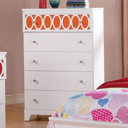 """Coaster - Madeline Chest, White/Red/Orange/Blue - The Madeline youth collection will help you create a bright and airy look in the youth bedroom in your home. Colorful top panels against the matte white finish on each piece helps to create a fun space to sleep, play or relax. Spacious storage in each piece make this a functional group too, completed with simple silver knobs for a timeless style. For a fun space that everyone will love, add the Madeline youth collection to your home.; Transitional Style; Finish/Color: White/Red/Orange/Blue; Box Spring/Foundation Required; Dimensions: 32""""L x 15.75""""W x 48""""H"""