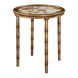 Sterling Furnishings - Sterling Furnishings Unique D�cor Items Table in Unfinished Item - Shown in picture: Vivian Accent Table. A stunning reverse painted glass table on faux bamboo legs. Finished in gold tones and soft white top with a floral pattern.