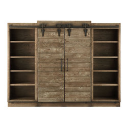 Baumann Media Center - Childhood memories of summers spent on a farm in central Ohio became our inspiration for the sliding barn doors of our Baumann Collection. Artisans hand-plane solid oak grown and harvested in America. Each section is hand-finished with an antique rust patina. Even the hardware has been replicated--the castings for the wheels and tracks are inscribed with the words �Ashland County,� reminiscent of original barn doors. Slide the rustic doors to reveal or conceal additional storage.
