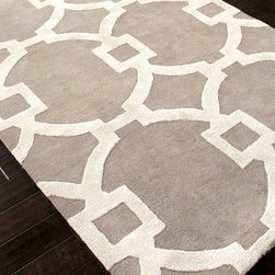 City Ashwood and White Hand-Tufted Rug - 5' x 8' - Overscaled loops of lighter, higher pile form a rounded, sophisticated lattice over this City Ashwood and White Rug. A smart, fresh look for your home in polished neutrals, this hand-tufted rug makes an elegant statement on traditional floors, whether it's layered over carpet for sumptuousness, or placed where its textured loft contrasts with the smoothness of wood floors.