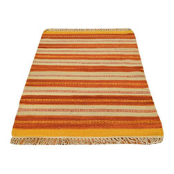 Colorful Durie Kilim Rug, Hand Woven 3'X5' 100% Wool Flat Weave Area Rug SH13419 - Soumaks & Kilims are prominent Flat Woven Rugs.  Flat Woven Rugs are made by weaving wool onto a foundation of cotton warps on the loom.  The unique trait about these thin rugs is that they're reversible.  Pillows and Blankets can be made from Soumas & Kilims.