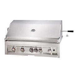 Sunstone Grills - Sunstone Grills Infrared 5 Burner 42 In. Built-In Gas Grill Multicolor - SUN5B-I - Shop for Grills from Hayneedle.com! Stay back vegetarians the Sunstone Grills Infrared 5 Burner 42 Inch Built-in Gas Grill is for real grill masters who are serious about their meat! With 5 burners and state-of-the-art infrared technology this 304 stainless steel masterpiece truly is the granddaddy of built-in grills. LP and natural gas models are available both capable of producing up to 100 000 BTUs plus a 15 000 BTU infrared burner with rotisserie. This seamless unit also features a smoker box warming rack roll-along tray flame directors and well the list goes on and on. An ideal keystone in the outdoor kitchen of your dreams the Sunstone Grills 42-inch Grill is ready to make you grillmaster.Additional Information:Double-walled hood and support with polished accents11-gauge 304 cast stainless steel burners3/8-inch heavy-duty stainless steel cooking gratesElectronic control knobsCommercial adjustable valvesTemperature gauge and integrated thermometerWind guardsGrilling lightsFlame directorsRoll-along trayWarming rackSmoker boxSeamless edgingAbout Texas BBQ WholesalersWith 12 years of experience under their belt Austin Texas-based manufacturer and distributors Sunstonestone Metal Products and Texas BBQ Wholesalers have a reputation for producing some of the finest outdoor products on the market. Gas grills and accessories are their forte namely outdoor kitchen islands made using up to 99% 20- to 16-gauge commercial-grade 304 stainless steel. With the advantage of partnering manufacturing and distribution Texas BBQ Wholesalers and Sunstonestone Metal Products are proud to bring their competitive advantage in outdoor cooking products to your backyard.