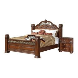 Coaster - Coaster DuBarry 4 Piece Bedoom Set in Rich Brown Finish - Coaster - Bedroom Sets - 201821XXPKG2 - Coaster DuBarry Bed in Rich Brown Finish (included quantity: 1) Center your master suite with sophistication by welcoming this bed from the DuBarry collection into your home. This grand headboard and footboard bed boasts beautiful, classic styling with its shapely headboard, reeded pillar posts, and intricately carved details. Crafted from mahogany solids and veneers, this bed is complete with a rich brown finish that will envelop any space with warm sophistication. This bed is available in Queen, King, and California King sizes.
