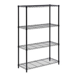 Honey Can Do - 4-Tier Steel Urban Adjustable Storage Shelvin - Color: BlackCreate visible and accessible storage space instantly. Perfect blend of style and functionality. Durable. Withstanding up to 250 lbs. per shelf. Adjustable shelves and stackable components. Lifetime limited warranty. Made from steel. Black finish. Assembly required. 36 in. L x 14 in. W x 54 in. H (21.85 lbs.)Durable enough for the home, garage, or commercial kitchen; this NSF-rated shelving for food equipment areas including refrigerators, freezers, and warewashing areas. Combine multiple units to create a customized storage wall. The no-tool assembly allows you to construct in minutes a shelving unit that will last for years.