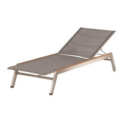 Barlow Tyrie - Barlow Tyrie - Equinox Sun Lounger - Titanium - Stacking Sun Lounger with stainless steel frame, teak or powder coated frame capping, Textilene sling or Teak Body, adjustable backrest and hidden positioning wheel.