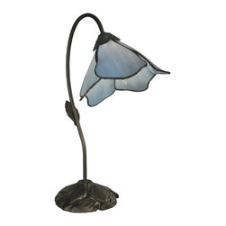 Dale Tiffany - Dale Tiffany TT12145 Poelking 1-Light Blue Lily Modern / Contemporary Table Lamp - Our Poleking series of table lamps is an easy way to add unique color and charm to any room of your home. This 1 light lily lamp features a single gossamer lily blossom in light blue art glass. Each of the 5 panels feature fluid, graceful edges that faithfully recreate a delicate lily blossom. The shade hangs from a gracefully curved stem flowing from an intricately carved metal base, finished dark antique bronze. This 1 light lamp adds a splash of color on a bookshelf and is also a beautiful desk lamp. No matter how you choose to display it, this charming lamp is destined to become a treasured family heirloom to be enjoyed for generations to come.