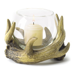 KOOLEKOO - Rustic Antler Candleholder - This rustic antler wreath forms a crafty cradle for a glass globe votive holder. A wonderfully woodsy touch of nature to warm up your cabin-style or country decor!