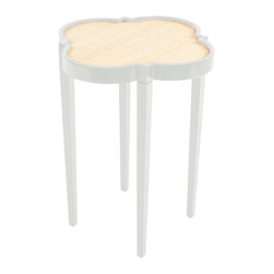 """Tini Table IV - White Dove - One of our best sellers - this quatrefoil is at home anywhere in your palace. Fabulous between two chairs in the library or next to your tub stacked with fluffy white towels. Get creative! Dimensions: 16 L x 16 W x 20 H. Tops: natural, painted, or white washed raffia, """"gator"""", """"linen"""", lacquer, """"lizard""""/white, """"lizard""""/brown, """"lizard""""/tan. Available in 16 highly lacquered colors. Made in USA."""
