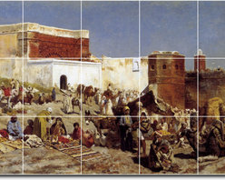 Picture-Tiles, LLC - Moroccan Market Rabat Tile Mural By Edwin Weeks - * MURAL SIZE: 18x30 inch tile mural using (15) 6x6 ceramic tiles-satin finish.