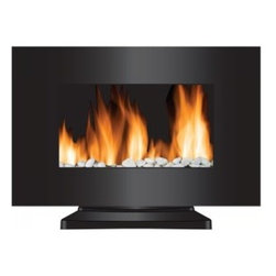 "Frigidaire - Vienna - 35""W Curved Glass Wall Fireplace, 10 Color, Remote, 2 Levels-1500W/750W - Frigidaire VWF-10305 Vienna 2-in-1 Wall-Mounting and Floor Standing LED Fireplace with Color-Changing Flame brings beauty and warmth to your living space. This unique feature allows you to choose from 10 flame colors that compliment your home decor or just set it in auto-color changing mode. It has dual heat settings and comes with real pebbles to compliment the realistic flame effect. The flame effect operates with and without heat to create a matchless ambience in any season. The flat tempered-glass panel and built-in automatic overheat protection combines beauty with safety. It includes mounting hardware and a floor stand so you have the option to mount the unit safely on virtually any wall or use floor stand to place on the floor. The remote control let's you easily control the heat, flame colors and flame brightness from the comfort of a bed or couch. This unique and stylishly designed fireplace is simply fascinating and a must-have for every home."
