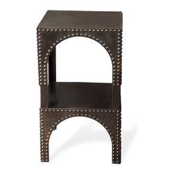 Kathy Kuo Home - Dakis Industrial Loft Iron Grommets Side Table - Add industrial flair to any space with our beautiful dark brown iron table. A second shelf doubles display space and echoes the arch of the upper section. Edges are trimmed with silver metal grommets for a gorgeous global accent.
