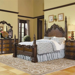 Hooker Furniture - Beladora 3 Pc Poster Bedroom Set (Queen) - Choose Size: QueenIncludes bed, nightstand and dresser. Mirror not included. Dresser with nine drawers and drop-front on top center drawer. Nightstand with three drawers. Made from hardwood solids with maple, olive ash burl and walnut veneers with resin accents. Caramel finish with gold tipping. Queen: 96.25 in. L x 70.75 in. W x 88.75 in. H. King: 96.25 in. L x 84.75 in. W x 88.75 in. H. California King: 100.25 in. L x 84.75 in. W x 88.75 in. H. Nightstand mid and bottom drawer (max width): 14.50 in.. Nightstand mid and bottom drawer (min width): 23.88 in. L x 13.50 in. W x 6.13 in. H. Nightstand top drawer (max width): 14.50 in.. Nightstand top drawer (min width):  23.88 in. L x 13.50 in. W x 3.56 in. H. Nightstand overall: 36 in. W x 19 in. D x 30 in. H. Dresser center 2nd and 3rd row drawers (max width): 16.31 in.. Dresser center 2nd and 3rd row drawers (min width): 19.44 in. L x 14.81 in. W x 7.88 in. H. Dresser side bottom drawers (max width): 18.88 in.. Dresser side bottom drawers (min width): 19.56 in. L x 15.13 in. W x 7.88 in. H. Dresser side top drawers (max width): 18.88 in.. Dresser side top drawers (min width): 19.56 in. L x 15.13 in. W x 6.94 in. H. Dresser top center drawer: 18.88 in. L x 14.75 in. W x 7.88 in. H. Dresser overall: 78 in. W x 23 in. D x 38 in. H. Bed Assembly Instructions. Dresser Assembly InstructionsThe elegantly carved footboard posts come in sections, allowing your choice of a low post configuration or a high post look. The 70-piece Beladora collection of bedroom, dining, living room tables, home office and home entertainment furniture is the epitome of the grand European elegance many are looking for. Enrich you surroundings with the grand European elegance of Beladora. If you appreciate traditional forms, exquisite shapes, graceful curves and artistic hand work, the Beladora office collection by Hooker Furniture will inspire you as you work in your personal office space. The collection is dramatic and graciously scaled with maple and olive ash burl veneers accented by distinctive walnut inlays. Beladora pays homage to costly Old World antiques and showcases its exceptional design with a refined caramel finish with subtle gold tipping to accent the carving, chiseling and marquetry work all done by the hands of skilled craftsmen.