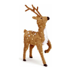 36 In. Prancing Reindeer Christmas Decor w/ Spots & 150 Clear Lights - Measures 3 feet height. Indoor or outdoor use. Pre-lit with 150 UL listed, pre-strung Clear lights. Light string features BULB-LOCK to keep bulbs from falling out. If one bulb burns out the others remain lit. Includes spare bulbs and fuses. Fire-resistant and non-allergenic.