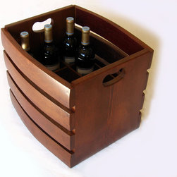 The Barrel Crate, recycled wine barrel staves beer/ wine, stackable - Our Barrel Crate has been designed to contain, store and easily carry bottles of either beer or wine (dimensions vary accordingly) or to practically organize your recyclable bottles. The design allows the crates to be conveniently stacked one on top of the other.