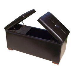 None - Paris Hope Chest & Storage Bench - Store your keepsakes in style with this elegant storage chest bench. The top features leather padding,which allows the bench to double as an ottoman,and it has French double doors that open from the top,making it easy to reach the contents inside.