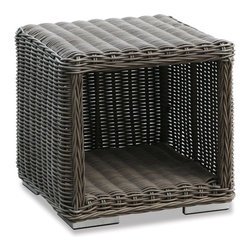 Thos. Baker - Wicker Outdoor Side Table | Hampton Collection - Oversized seating in all-weather wicker with a slightly weathered look inspired by classic whitewashed country home styles. Premium, dyed-through resin wicker with an extra large diameter profile and elegant ocean gray finish. Powder-coated aluminum subframe and brushed aluminum feet.Plush Sunbrella cushion sets included where applicable. Choose quick ship in khaki with cocoa piping, stone green or choose from our made-to-order fabric options.Made-to-order cushion sales are final and ship in 2-3 weeks.