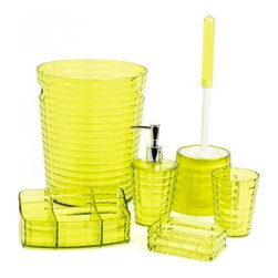 Gedy - Avocado Green 6 Piece Bathroom Accessory Set - A free stand contemporary accessories set that is made in thermoplastic resin and coated with avocado green.