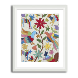 MonDeDe - Otomi Embroidery I - If you're an admirer of the handiwork of textile artists, this giclee print will speak to you. Featuring a segment of a tapestry that's been rendered into a giclee print, it sports a flora and fauna motif that will bring a pop of color to any room.