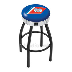 "Holland Bar Stool - Holland Bar Stool L8B3C - Black Wrinkle U.S. Coast Guard Swivel Bar Stool - L8B3C - Black Wrinkle U.S. Coast Guard Swivel Bar Stool w/ Chrome 2.5 Inch Ribbed Accent Ring belongs to Military Collection by Holland Bar Stool Made for the ultimate sports fan, impress your buddies with this knockout from Holland Bar Stool. This contemporary L8B3C logo stool has a single-ring black wrinkle base with a 2.5"" cushion and a 3"" chrome ribbed accent ring that helps the seat to ""pop-out"" at glance. Holland Bar Stool uses a detailed screen print process that applies specially formulated epoxy-vinyl ink in numerous stages to produce a sharp, crisp, clear image of your desired logo. You can't find a higher quality logo stool on the market. The plating grade steel used to build the frame is commercial quality, so it will withstand the abuse of the rowdiest of friends for years to come. The structure is powder-coated black wrinkle with a triple chrome-plated ribbed accent ring to ensure a rich, sleek, long lasting finish. Construction of this framework is built tough, utilizing solid mig welds. If you're going to finish your bar or game room, do it right- with a Holland Bar Stool. Barstool (1)"