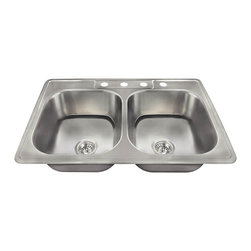 "MR Direct - MR Direct US1022T Top mount Stainless Steel Sink - We are proud to introduce a new line of stainless steel kitchen sinks that have been made in the USA. This new collection of kitchen sinks is made from 300-series stainless steel. The surface has a brushed satin finish to help mask small scratches that occur over time and keep your sink looking beautiful for years. The overall dimensions of the US1022T are 33"" x 22"" x 7 1/2"" and a 33"" minimum cabinet size is required. This sink contains a 3 1/2"" Centered drain, is fully insulated and comes with sound-dampening pads. As always, our stainless steel sinks are covered under a limited lifetime warranty for as long as you own the sink."
