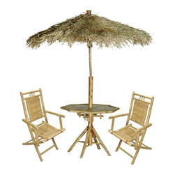 Bamboo54 - Bamboo Palapa 4-Piece Patio Set - Palapa Set includes 2 chairs, table and bamboo thatched umbrella. One of our most popular set, this is like having an instant tropical tiki set up in a box.