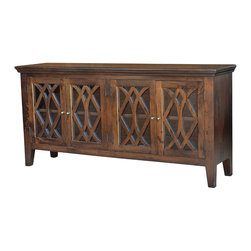 Four Hands - Azalea Sideboard, Antique Brown, 4 Door - Invite old-world elegance and a modern eco-conscious vibe into your home. This handsome cabinet, hand-crafted of responsibly harvested mango wood, features glass fronts and brass pulls and would be a beautiful, functional addition to your dining room.