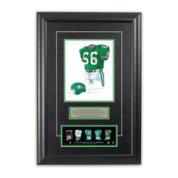 "Heritage Sports Art - Original art of the CFL 1989 Saskatchewan Roughriders uniform - This beautifully framed piece features an original piece of watercolor artwork glass-framed in an attractive two inch wide black resin frame with a double mat. The outer dimensions of the framed piece are approximately 17"" wide x 24.5"" high, although the exact size will vary according to the size of the original piece of art. At the core of the framed piece is the actual piece of original artwork as painted by the artist on textured 100% rag, water-marked watercolor paper. In many cases the original artwork has handwritten notes in pencil from the artist. Simply put, this is beautiful, one-of-a-kind artwork. The outer mat is a rich textured black acid-free mat with a decorative inset white v-groove, while the inner mat is a complimentary colored acid-free mat reflecting one of the team's primary colors. The image of this framed piece shows the mat color that we use (Bright Green). Beneath the artwork is a silver plate with black text describing the original artwork. The text for this piece will read: This original, one-of-a-kind watercolor painting of the 1989 Saskatchewan Roughriders uniform is the original artwork that was used in the creation of this Saskatchewan Roughriders uniform evolution print and thousands of other Saskatchewan Roughriders products that have been sold across North America. This original piece of art was painted by artist Nola McConnan for Maple Leaf Productions Ltd.  1989 was a Grey Cup winning season for the Saskatchewan Roughriders. Beneath the silver plate is a 3"" x 9"" reproduction of a well known, best-selling print that celebrates the history of the team. The print beautifully illustrates the chronological evolution of the team's uniform and shows you how the original art was used in the creation of this print. If you look closely, you will see that the print features the actual artwork being offered for sale. The piece is framed with an extremely high quality framing glass. We have used this glass style for many years with excellent results. We package every piece very carefully in a double layer of bubble wrap and a rigid double-wall cardboard package to avoid breakage at any point during the shipping process, but if damage does occur, we will gladly repair, replace or refund. Please note that all of our products come with a 90 day 100% satisfaction guarantee. Each framed piece also comes with a two page letter signed by Scott Sillcox describing the history behind the art. If there was an extra-special story about your piece of art, that story will be included in the letter. When you receive your framed piece, you should find the letter lightly attached to the front of the framed piece. If you have any questions, at any time, about the actual artwork or about any of the artist's handwritten notes on the artwork, I would love to tell you about them. After placing your order, please click the ""Contact Seller"" button to message me and I will tell you everything I can about your original piece of art. The artists and I spent well over ten years of our lives creating these pieces of original artwork, and in many cases there are stories I can tell you about your actual piece of artwork that might add an extra element of interest in your one-of-a-kind purchase."