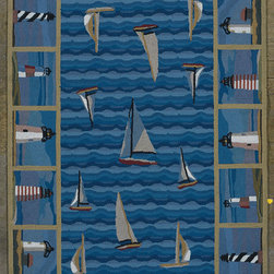 "Kas - Light Houses Blue Colonial Novelty 8' x 10'6"" Kas Rug  by RugLots - Our Colonial Collection of hooked wool rugs exhibits the true creativity of our designers. Originally a craft born out of necessity, hooked rugs have now become a form of art, taking shape with the talent of designers and weavers. Made in China, our petit point hooked rug collection contains an assortment of styles that suit a wide range of tastes. Our Colonial rugs come in both classic and trendy designs, including florals and nauticals. The intricate design and myriad of colors add both a lively and rich look."