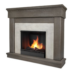 Cascade Dune Stone Gel-Fuel Firebox and Mantel - The Cascade Mantel features an elegant, classic design and authentic stone texture, creating a beautiful built-in look to compliment any room. Real Flames Cast Mantels are crafted from a light weight, fiber-enforced concrete and backed with an internal steel frame for an enduring presence. For safety, this unit must be anchored to a wall using the included hardware. The hand-painted log set and bright crackling flame add to the realistic look of this Real Flame Gel Fuel Fireplace.