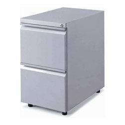 New Spec - Mobile Locking 2 Drawer File Cabinet - Color/Finish: Silver. Material: Metal. Key Lock. . 14.96 in. L x 23.39 in. W x 27.56 in. H (65 lbs)