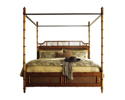 Tommy Bahama Home - Tommy Bahama - Island Estate West Indies Queen Bed  Ends Jul - This superb West Indies Bed can be configured with, or without the tall posts and Canopy. Ring the changes with the seasons.