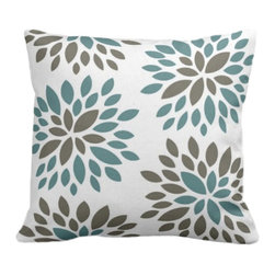 PURE Inspired Design - Dahlia Organic Pillow Cover, Light Teal/Khaki/Natural, 18 X 18 - Collection:  PURE Beach