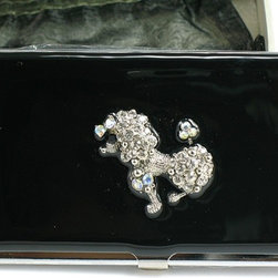 "Belle Fashion - 3.75"" Jeweled Austrian Crystal Poodle on Black Enamel Card Holder - This gorgeous 3.75"" Jeweled Austrian Crystal Poodle on Black Enamel Card Holder has the finest details and highest quality you will find anywhere! 3.75"" Jeweled Austrian Crystal Poodle on Black Enamel Card Holder is truly remarkable."