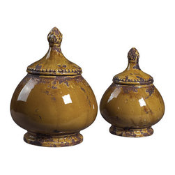 Sterling Industries - Sterling Industries 119-040 Set of 2 Ceramic Jars - Specifications: