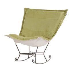 Howard Elliott - Microsuede Scroll Puff Rocker - Titanium Frame - Nothing less than the most comfortable chair on the planet! The soft luxury and style of our Puff Collection is a great addition to any room. All Puff cushions are constructed with luxurious foam for optimal comfort. Like most HEC items, Puff cushions are removable for easy cleaning, are interchangeable between frames.