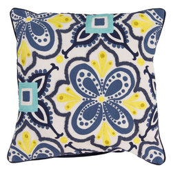 "Surya - Surya KS-014 Modern In Morocco Pillow, 20"" x 20"", Poly Fiber Filler - Build a bold, bright look, sure to be the crowning jewel of your space, with this pillow from the Kate Spain collection. Featuring a flower image outlined by diverse patterns in yellow and blue coloring, this piece will inject a shot of stylized color and design into any room. This pillow contains a zipper closure and provides a reliable and affordable solution to updating your home's decor. Genuinely faultless in aspects of construction and style, this piece embodies impeccable artistry while maintaining principles of affordability and durable design, making it the ideal accent for your decor."