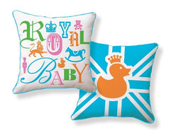 Naked Decor - Royal Baby Pillow - Let's face it: Every parent feels as though they are welcoming royalty to the world with their new bundle of joy. Play up the theme with a statement pillow for the nursery. The stylish type, colorful palette and iconic British flag adds playful personality and a cozy place to rest your sleep-deprived head.