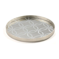 Circle Tray - If your d�cor has Arts and Crafts Movement design influences, use the Circle Large Tray for its resemblance to the heirloom double wedding ring quilt pattern, updated in chic metallics; if you prefer a more global look, choose this tray to serve hors d'oeuvre from a mirrored Moroccan design.  The adaptable tray is made with a silver-leafed pattern of interlocking circles over a pane of mirror.  An unbroken vertical rim completes the edges.