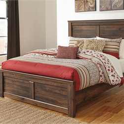 Signature Design by Ashley - Signature Design by Ashley Quinden Dark Brown Panel Bed - This versatile and gorgeous bed features a warm,dark brown finish over replicated oak grain for an old-world feel. A slatted panel motif on the headboard enhances the bed's rustic appeal.