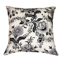 Pillow Decor - Pillow Decor - Tuscany Linen Floral Print 20 x 20 Throw Pillow - This beautiful 20 inch square floral print pillow features delicate flowers in black and gray tones on a cream background. The fabric is 100% linen. The combination of this flowing floral pattern with the warm, natural feel of the linen makes for a truly elegant pillow. Ideal for a bedroom or living room in need of a bold yet sophisticated lift.