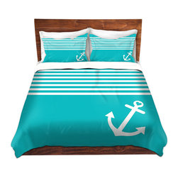 DiaNoche Designs - Duvet Cover Twill by Organic Saturation - Teal Love Anchor Nautical, Twin - Lightweight and soft brushed twill Duvet Cover sizes Twin, Queen, King.  SHAMS NOT INCLUDED.  This duvet is designed to wash upon arrival for maximum softness.   Each duvet starts by looming the fabric and cutting to the size ordered.  The Image is printed and your Duvet Cover is meticulously sewn together with ties in each corner and a concealed zip closure.  All in the USA!!  Poly top with a Cotton Poly underside.  Dye Sublimation printing permanently adheres the ink to the material for long life and durability. Printed top, cream colored bottom, Machine Washable, Product may vary slightly from image.