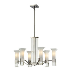 Lotus Six-Light Brushed Nickel Chandelier with Matte Opal Glass Shades and Cryst
