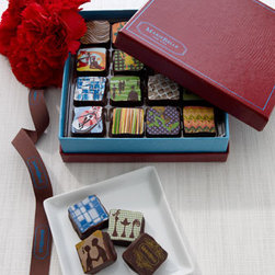 Horchow - Chocolate Gift Box, 16-Piece - Exclusively ours. Indulge with rich, creamy dark chocolate. Made in the USA. Dark chocolate with multicolor designs. Natural flavorings may include the following: dulce de leche, champagne, Earl Grey tea, cappuccino, caipirinha, espresso, pistachio,...