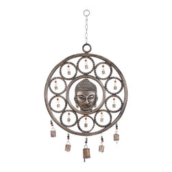 Buddha Wind Chime with Mix of Spirituality - Introduce spirituality and calmness into your hectic and busy lifestyle with this Metal Wind Chime with Buddha. This unique and mystical wind chime features Gautam Buddha at the centre. It will facilitate paving your own path to an enlightened life by finding inspiration in this rustic wind chime that features a hypnotic concentric circle design with bells inside each circle linked by colorful beads. Hang this wind chime up using the strong and durable link and chain design and feel the pleasant positive energy emanating from it. It will take you closer to Nirvana. The tinkling of the bells on this wind chime is sure to steer you back onto your way to enlightenment, when you veer off towards materialistic pursuits. This wind chime is made from metal that is resistant to rust and strong, making it a valuable addition to your home decor.. It comes with a dimension: