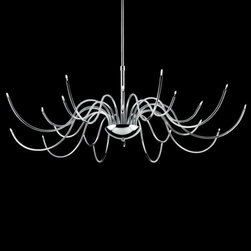 Eurofase - Kasper 210259Light Chandelier by Eurofase - The Eurofase Kasper 20-Light Chandelier displays all the curvaceous elegance of a traditional chandelier sans any fussy details. The delicacy and graceful curves of the thin, tubular arms are greatly accentuated by the glossy Chrome finish that coats them. At the end of each arm, a petite halogen bulb sparkles warmly without interrupting the clean lines.Based in Toronto, Canada, Eurofase has been presenting artful and innovative illumination since 1989. They continually promote the use of cost-saving lighting technologies, including LED, halogen and compact fluorescent, in an effort to provide for the lighting needs of an expanding energy efficient culture.The Eurofase Kasper 20-Light Chandelier is available with the following:Details:20 thin, tubular armsMetal frameChrome finishRound ceiling canopyTelescopic stemLow voltage transformer in canopyETL ListedLighting: Twenty 10 Watt 12 Volt Low voltage Type G4 Halogen lamps (included).Shipping:This item usually ships within five business days.