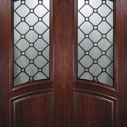 Slab Double Door 96 Wood Mahogany Casablanca Arch Top Arch