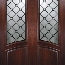 "Slab Double Door 96 Wood Mahogany Casablanca Arch Top Arch Lite Glass - SKU#    P91415Brand    GlassCraftDoor Type    ExteriorManufacturer Collection    Arch Top Double DoorDoor Model    CasablancaDoor Material    WoodWoodgrain    MahoganyVeneer    Price    3800Door Size Options    2(36"") x 96"" (6'-0"" x 8'-0"")  $0Core Type    Door Style    Arch TopDoor Lite Style    Arch LiteDoor Panel Style    Home Style Matching    Door Construction    PortobelloPrehanging Options    SlabPrehung Configuration    Double DoorDoor Thickness (Inches)    1.75Glass Thickness (Inches)    Glass Type    Triple GlazedGlass Caming    BlackGlass Features    Tempered , BeveledGlass Style    Glass Texture    Glass Obscurity    Door Features    Door Approvals    Wind-load Rated , FSC , TCEQ , AMD , NFRC-IG , IRC , NFRC-Safety GlassDoor Finishes    Door Accessories    Weight (lbs)    575.2Crating Size    25"" (w)x 108"" (l)x 52"" (h)Lead Time    Slab Doors: 7 daysPrehung:14 daysPrefinished, PreHung:21 daysWarranty    One (1) year limited warranty for all unfinished wood doorsOne (1) year limited warranty for all factory?finished wood doors"