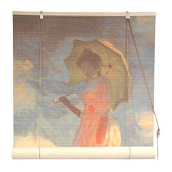 "Oriental Unlimited - Girl With a Parasol Bamboo Blinds (72 in.) - Size: 72 in.. Highlighted by soft, muted tones, this lovely bamboo blind will bring an artistic elegance to any decor. Highlighted by an images of the classic Renoir masterpiece ""Girl with a Parasol,"" the blind is available in your choice of sizes and will easily enhance any room of your home. Feature an image of Claude Monet's Girl With a Parasol painting. Easy to hang and operate. 24 in. W x 72 in. H. 36 in. W x 72 in. H. 48 in. W x 72 in. H. 60 in. W x 72 in. H. 72 in. W x 72 in. H"